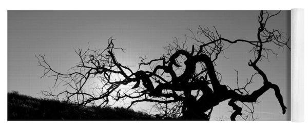 Tree Of Light Silhouette Hillside - Black And White  Yoga Mat