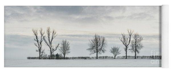Treeline In Snow, England Yoga Mat
