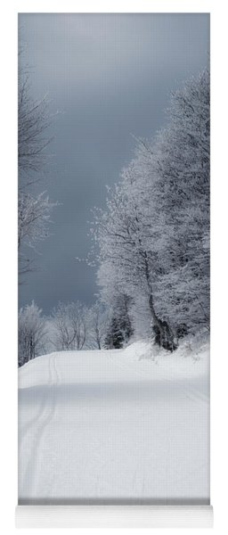Trees Hills And Snow Yoga Mat