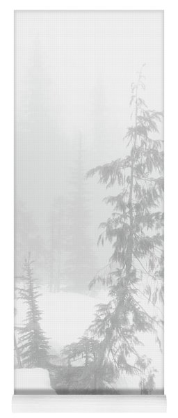Trees In Fog Monochrome Yoga Mat