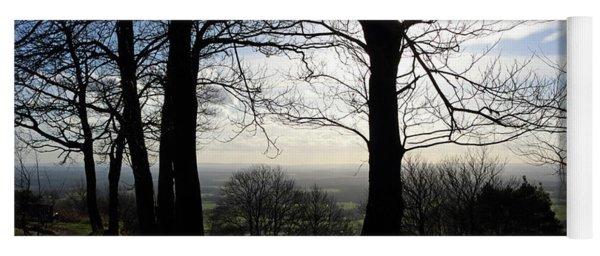 Trees In Silhouette In Surrey Hills Uk Yoga Mat