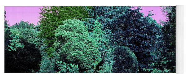 Treescape In Teal Greens Yoga Mat