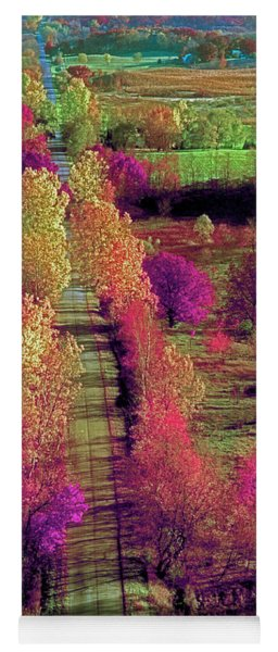 Tree Top View Of A Illinois Country Road Fall Yoga Mat
