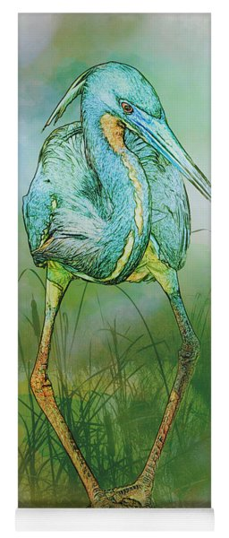 Yoga Mat featuring the photograph Tri-colored Heron Balancing Act - Colorized by Patti Deters