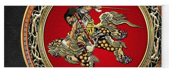 Tribute To Hokusai - Shoki Riding Lion  Yoga Mat