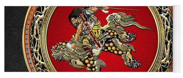Tribute To Hokusai - Shoki Riding Lion  Yoga Mat