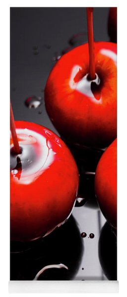 Trio Of Bright Red Home Made Candy Apples Yoga Mat