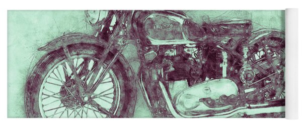 Triumph Speed Twin 3 - 1937 - Vintage Motorcycle Poster - Automotive Art Yoga Mat