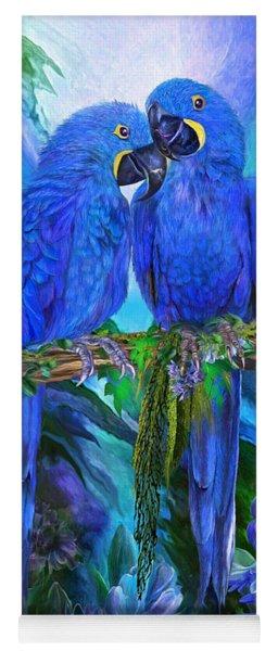 Yoga Mat featuring the mixed media Tropic Spirits - Hyacinth Macaws by Carol Cavalaris