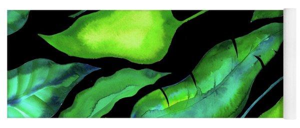 Tropical Leaves, Dark Yoga Mat