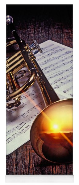 Trumpet With Sunset Yoga Mat