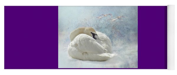 Yoga Mat featuring the photograph Trumpeter Textures #1 - Swan Feather by Patti Deters