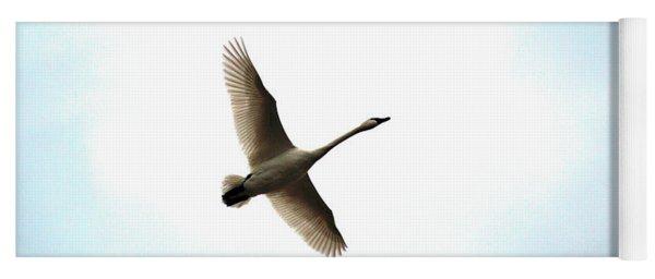 Trumpeter Swan In Flight Yoga Mat