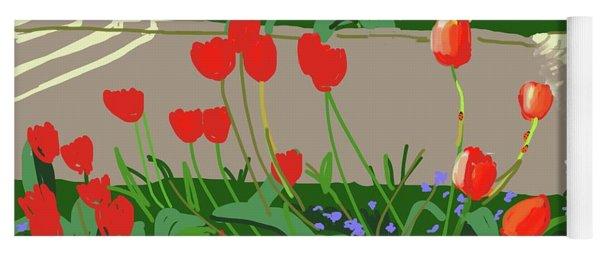 Tulips And Ladybirds Yoga Mat