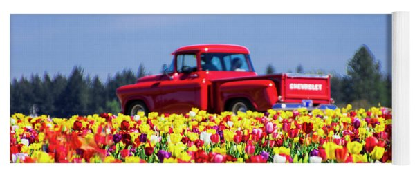 Tulips And Red Chevy Truck Yoga Mat