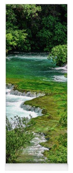Turqouise Waterfalls Of Skradinski Buk At Krka National Park In Croatia Yoga Mat