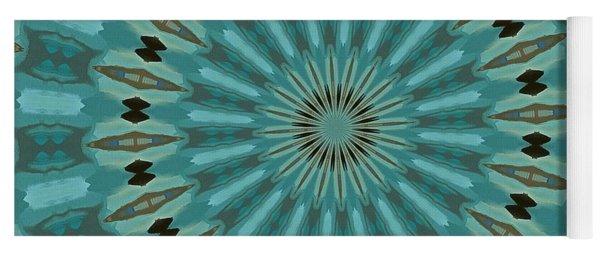 Turquoise Blue Plumage Mandala Kaleidoscope Pattern Yoga Mat