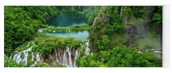 Turquoise Lakes And Waterfalls - A Dramatic View, Plitivice Lakes National Park Croatia Yoga Mat
