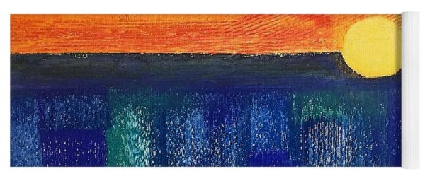 Yoga Mat featuring the painting Turquoise Sunset by Norma Duch