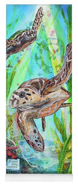 Yoga Mat featuring the painting Turtle Cove by TM Gand