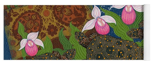 Yoga Mat featuring the painting Turtle - Mihkinahk by Chholing Taha