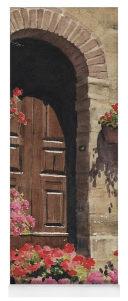 Yoga Mat featuring the painting Tuscan Door by Sam Sidders