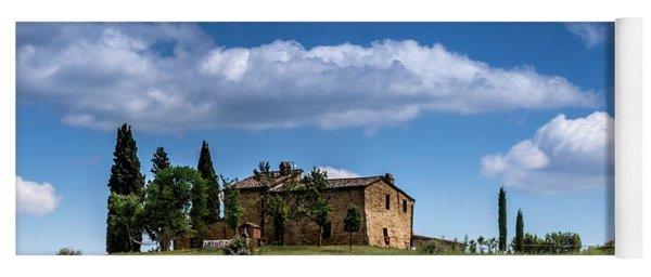 Tuscan Field With Farm House Yoga Mat