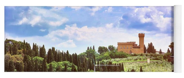 Tuscan Fields And Old Castle In Florence Yoga Mat