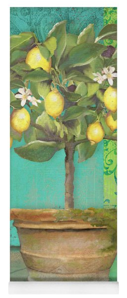 Tuscan Lemon Topiary - Damask Pattern 1 Yoga Mat