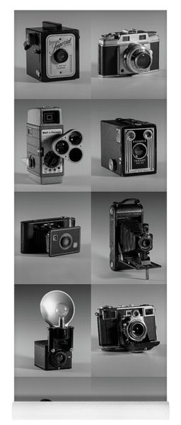 Twenty Old Cameras - Black And White Yoga Mat