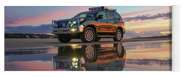 Twilight Beach Reflections And 4wd Car Yoga Mat