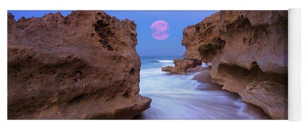Twilight Moon Rising Over Hutchinson Island Beach Rocks Yoga Mat