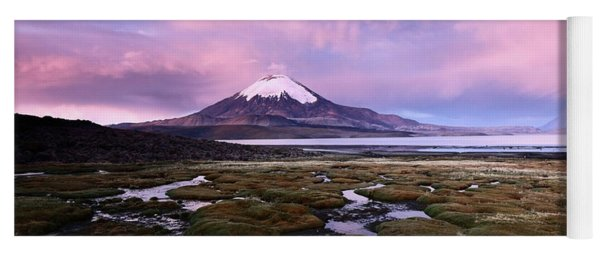 Twilight Over Parinacota Volcano And Lake Chungara Chile Yoga Mat