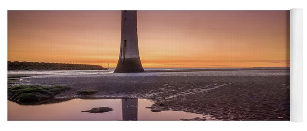 Twilight Reflection, New Brighton Lighthouse Yoga Mat