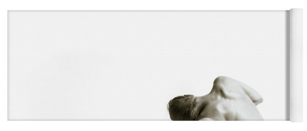 Yoga Mat featuring the photograph Twisted Figure On White by Rikk Flohr
