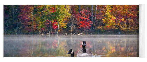 Two Canadian Geese Swimming In Autumn Yoga Mat