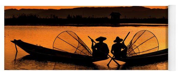 Two Fisherman At Sunset Yoga Mat