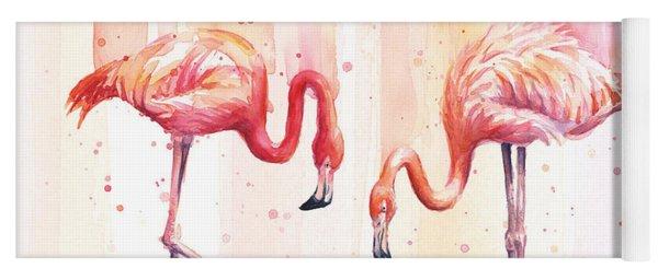 Two Flamingos Watercolor Yoga Mat