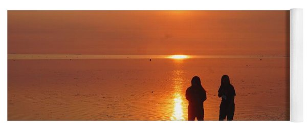 Two Girls At Sunset On Philippines Sea Yoga Mat