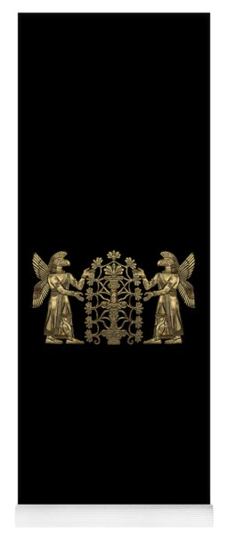Two Instances Of Gold God Ninurta With Tree Of Life Over Black Canvas Yoga Mat