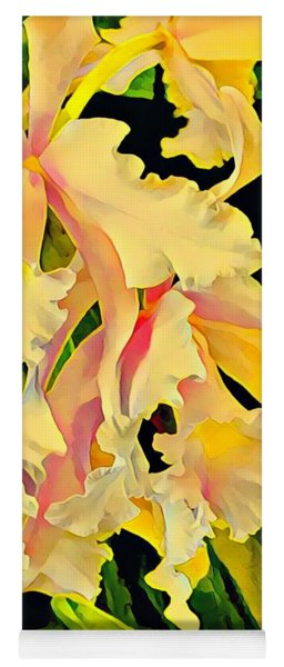 Two Orchids In Yellow  Yoga Mat