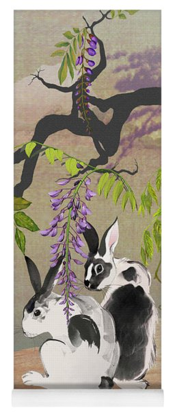 Two Rabbits Under Wisteria Tree Yoga Mat