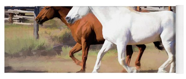Yoga Mat featuring the digital art Two Ranch Horses Galloping Into The Corrals by Nadja Rider