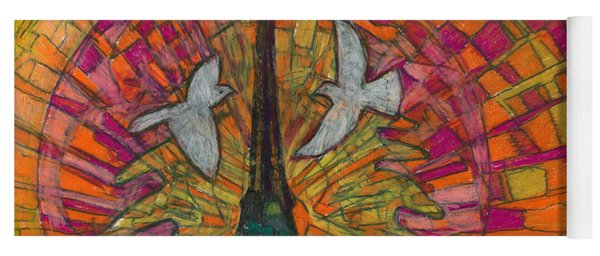 Yoga Mat featuring the painting Two Turtle Doves by Denise Weaver Ross