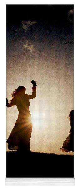 Two Women Dancing At Sunset Yoga Mat