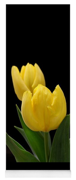 Two Yellow Tulips On Black Yoga Mat