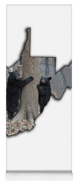 Two Young Black Bear Standing By Tree Yoga Mat
