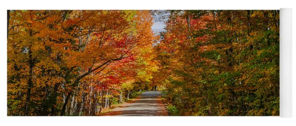 Typical Vermont Dirve - Fall Foliage Yoga Mat