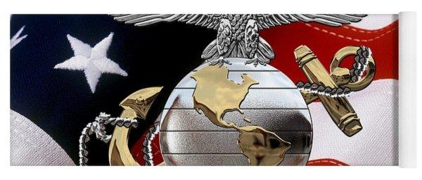 U S M C Eagle Globe And Anchor - C O And Warrant Officer E G A Over U. S. Flag Yoga Mat