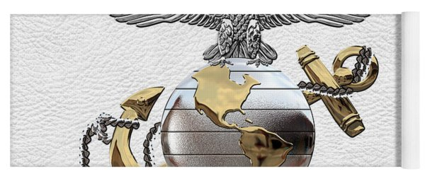 U S M C Eagle Globe And Anchor - C O And Warrant Officer E G A Over White Leather Yoga Mat